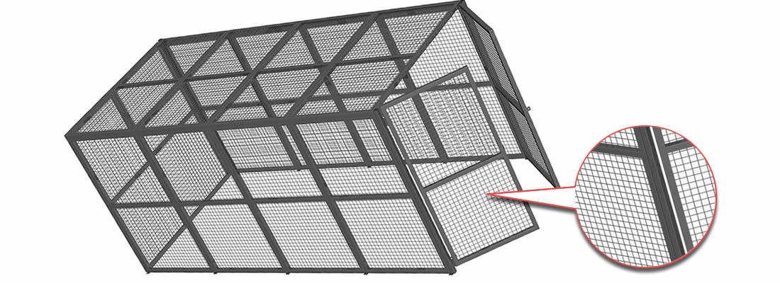 A security cage with black powder coated surface, and it is formed by plain woven wire mesh panels with strong structure.