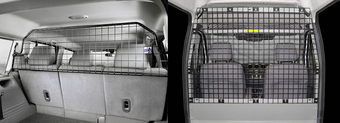 Two wire mesh partitions for transit connecting are fixed in the cars, and they both have powder coated surface to ensure a long service life.