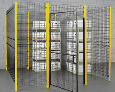 A heavy duty wire mesh partition with yellow vertical posts between every 2 panels for reinforcement.